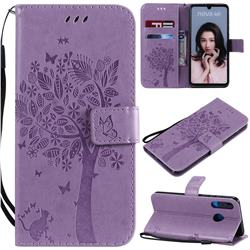 Embossing Butterfly Tree Leather Wallet Case for Huawei P30 Lite - Violet