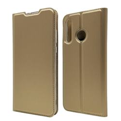Ultra Slim Card Magnetic Automatic Suction Leather Wallet Case for Huawei P30 Lite - Champagne