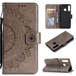 Intricate Embossing Datura Leather Wallet Case for Huawei P30 Lite - Gray