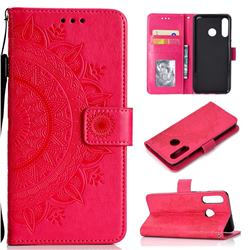 Intricate Embossing Datura Leather Wallet Case for Huawei P30 Lite - Rose Red