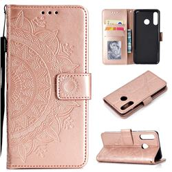 Intricate Embossing Datura Leather Wallet Case for Huawei P30 Lite - Rose Gold