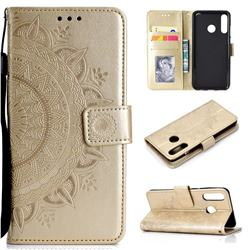 Intricate Embossing Datura Leather Wallet Case for Huawei P30 Lite - Golden