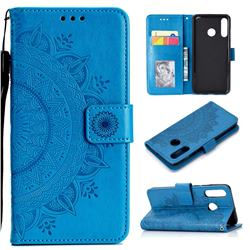 Intricate Embossing Datura Leather Wallet Case for Huawei P30 Lite - Blue
