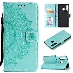 Intricate Embossing Datura Leather Wallet Case for Huawei P30 Lite - Mint Green