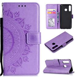 Intricate Embossing Datura Leather Wallet Case for Huawei P30 Lite - Purple