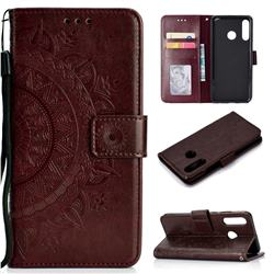 Intricate Embossing Datura Leather Wallet Case for Huawei P30 Lite - Brown