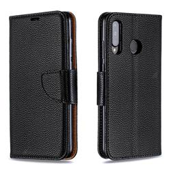 Classic Luxury Litchi Leather Phone Wallet Case for Huawei P30 Lite - Black