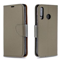 Classic Luxury Litchi Leather Phone Wallet Case for Huawei P30 Lite - Gray