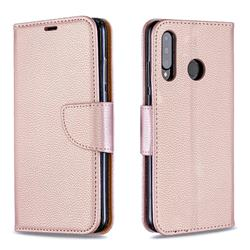 Classic Luxury Litchi Leather Phone Wallet Case for Huawei P30 Lite - Golden