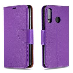 Classic Luxury Litchi Leather Phone Wallet Case for Huawei P30 Lite - Purple