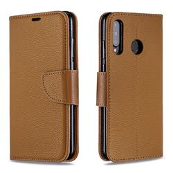 Classic Luxury Litchi Leather Phone Wallet Case for Huawei P30 Lite - Brown