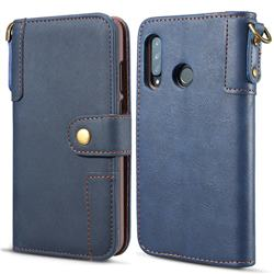 Retro Luxury Cowhide Leather Wallet Case for Huawei P30 Lite - Blue