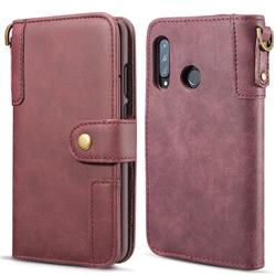 Retro Luxury Cowhide Leather Wallet Case for Huawei P30 Lite - Wine Red