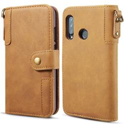 Retro Luxury Cowhide Leather Wallet Case for Huawei P30 Lite - Brown