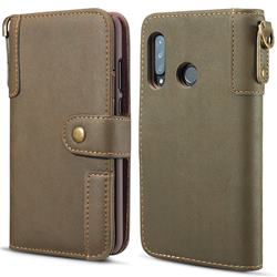 Retro Luxury Cowhide Leather Wallet Case for Huawei P30 Lite - Coffee