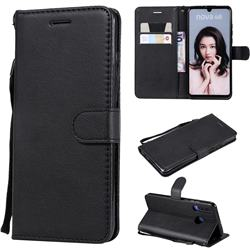 Retro Greek Classic Smooth PU Leather Wallet Phone Case for Huawei P30 Lite - Black