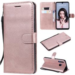 Retro Greek Classic Smooth PU Leather Wallet Phone Case for Huawei P30 Lite - Rose Gold