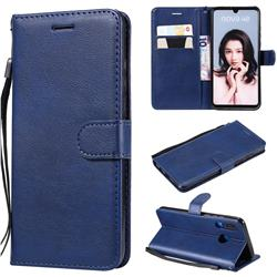 Retro Greek Classic Smooth PU Leather Wallet Phone Case for Huawei P30 Lite - Blue