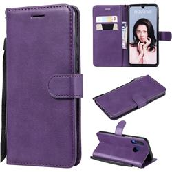 Retro Greek Classic Smooth PU Leather Wallet Phone Case for Huawei P30 Lite - Purple