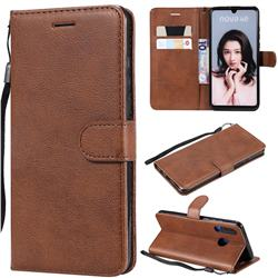Retro Greek Classic Smooth PU Leather Wallet Phone Case for Huawei P30 Lite - Brown