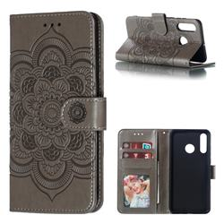 Intricate Embossing Datura Solar Leather Wallet Case for Huawei P30 Lite - Gray