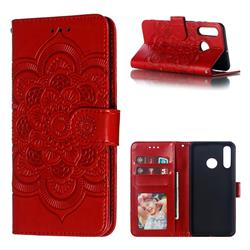 Intricate Embossing Datura Solar Leather Wallet Case for Huawei P30 Lite - Red