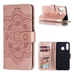 Intricate Embossing Datura Solar Leather Wallet Case for Huawei P30 Lite - Rose Gold