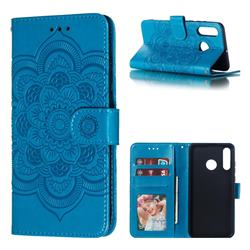 Intricate Embossing Datura Solar Leather Wallet Case for Huawei P30 Lite - Blue