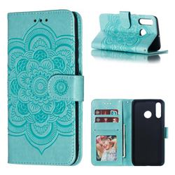 Intricate Embossing Datura Solar Leather Wallet Case for Huawei P30 Lite - Green