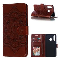 Intricate Embossing Datura Solar Leather Wallet Case for Huawei P30 Lite - Brown