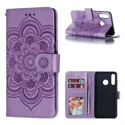 Intricate Embossing Datura Solar Leather Wallet Case for Huawei P30 Lite - Purple