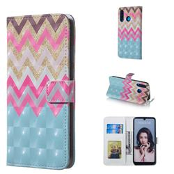 Color Wave 3D Painted Leather Phone Wallet Case for Huawei P30 Lite