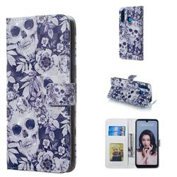 Skull Flower 3D Painted Leather Phone Wallet Case for Huawei P30 Lite