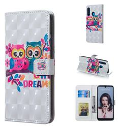 Couple Owl 3D Painted Leather Phone Wallet Case for Huawei P30 Lite