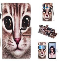Coffe Cat Smooth Leather Phone Wallet Case for Huawei P30 Lite
