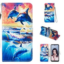 Couple Dolphin Smooth Leather Phone Wallet Case for Huawei P30 Lite