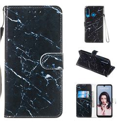 Black Marble Smooth Leather Phone Wallet Case for Huawei P30 Lite