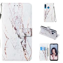 White Marble Smooth Leather Phone Wallet Case for Huawei P30 Lite