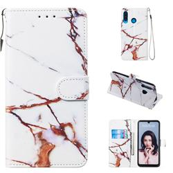 Platinum Marble Smooth Leather Phone Wallet Case for Huawei P30 Lite