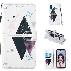 Triangle Marble Smooth Leather Phone Wallet Case for Huawei P30 Lite