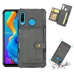 Brush Multi-function Leather Phone Case for Huawei P30 Lite - Gray