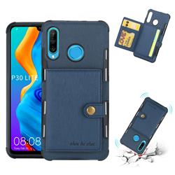 Brush Multi-function Leather Phone Case for Huawei P30 Lite - Blue