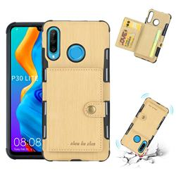 Brush Multi-function Leather Phone Case for Huawei P30 Lite - Golden