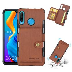 Brush Multi-function Leather Phone Case for Huawei P30 Lite - Brown