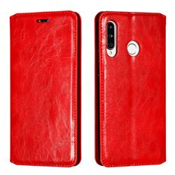Retro Slim Magnetic Crazy Horse PU Leather Wallet Case for Huawei P30 Lite - Red