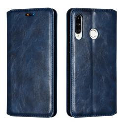 Retro Slim Magnetic Crazy Horse PU Leather Wallet Case for Huawei P30 Lite - Blue