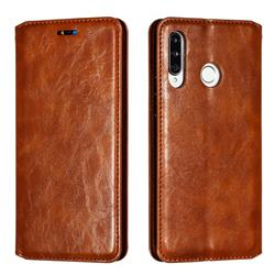 Retro Slim Magnetic Crazy Horse PU Leather Wallet Case for Huawei P30 Lite - Brown