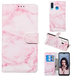 Pink Marble PU Leather Wallet Case for Huawei P30 Lite