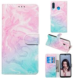 Pink Green Marble PU Leather Wallet Case for Huawei P30 Lite