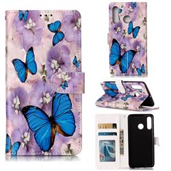 Purple Flowers Butterfly 3D Relief Oil PU Leather Wallet Case for Huawei P30 Lite